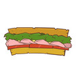 sandwich with ham and vegetables vector image vector image
