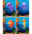 Sea animals swimming under the sea vector image vector image