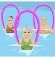 Senior people with foam rollers vector image vector image