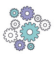 set gear machinery in color silhouette vector image