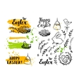 Set of Easter card and hand drawn Easter vector image vector image