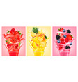 set of labels with fruit in juice splashes vector image