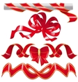 Set red ribbon and one knot vector image vector image