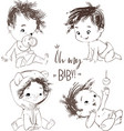 set with cartoon little baboy vector image vector image