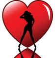 sexy female in heart vector image vector image