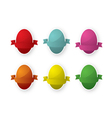 six easter egg with ribbon vector image