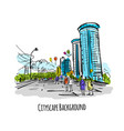 sketch of city street for your design vector image