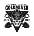 skull goldminer in helmet and shovels vector image vector image