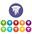 slice of pizza with salami melted cheese icons vector image vector image