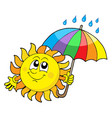 smiling sun with umbrella vector image vector image