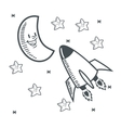 stars moon space sketch design vector image vector image