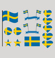 sweden flag set collection of symbols heart vector image vector image