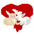 sweet bunnies with red heart vector image vector image