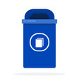 urban blue bin for paper flat isolated vector image vector image
