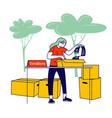 volunteer girl filling cardboard donation box vector image vector image