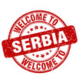 welcome to serbia red round vintage stamp vector image vector image