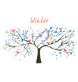 winter tree with snow and birds vector image vector image