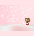 heart shape wood label board with heart bubble vector image