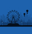 amusement park scenery at night silhouettes vector image vector image