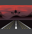 an airplane taking off at sunset in the mountains vector image vector image