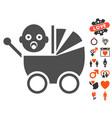 baby carriage icon with valentine bonus vector image
