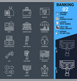 banking icons set thin line vector image vector image