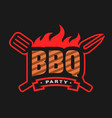 barbecue party logo emblem vector image vector image