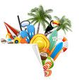 beach accessories with paper corner vector image vector image