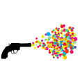 Black revolver with colored bubbles vector image