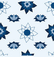 blooming lotus repeat design classic blue vector image vector image