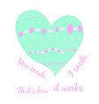 blue heart pattern valentines day greeting card vector image