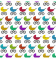 bright kids pattern with colorful baby prams vector image