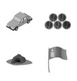 car wooden barrels and other monochrome icon in vector image vector image