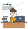 cartoon man working desk laptop vector image
