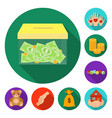 charity and donation flat icons in set collection vector image