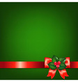 Christmas Red Ribbons With Holly Berry vector image vector image