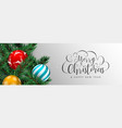 christmas web banner of color baubles on pine tree vector image