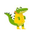 cute cartoon crocodile character walking wearing vector image