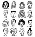 diverse faces people set human avatars vector image