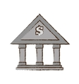 drawing building bank money finance vector image