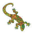 ethnic colorful lizard with many ornaments vector image
