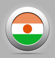 flag of niger metal gray round button vector image