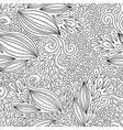 floral seamless pattern black and white doodle vector image vector image
