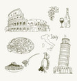 freehand drawing italy items on a sheet vector image vector image