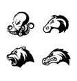 furious octopus bear alligator and horse head vector image vector image