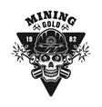 goldminer skull and two dynamites emblem vector image vector image