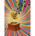 Gramophone playing music on colorful background vector image vector image