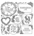 hand drawn vintage floral elements set flowers vector image