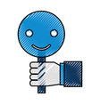 hand holding placard smiley call center customer vector image vector image