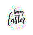 happy easter text lettering colored doodle vector image vector image